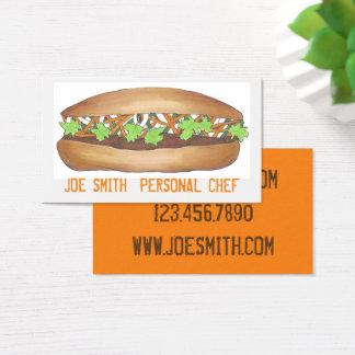 Cartões de visitas pessoais da comida do