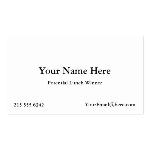 Cartões de visitas potenciais do vencedor do almoç