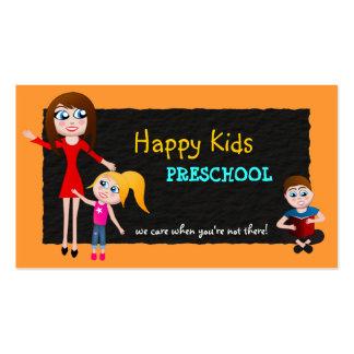 Cartões de visitas prées-escolar do professor de