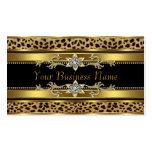 Cartões de visitas pretos do leopardo do ouro