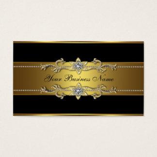 Cartões de visitas pretos do preto do ouro