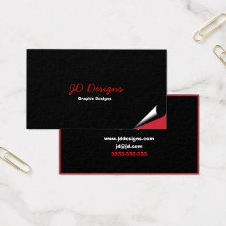Cartões de visitas pretos e vermelhos