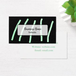Cartões de visitas pretos verdes de Minimalistic
