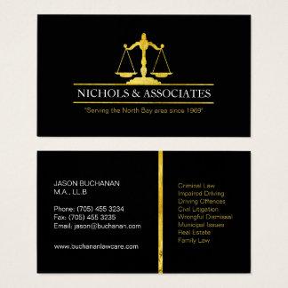 Cartões de visitas profissionais do advogado do