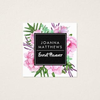 Cartões de visitas quadrados florais cor-de-rosa