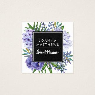 Cartões de visitas quadrados florais dos azuis