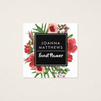 Cartões de visitas quadrados florais vermelhos