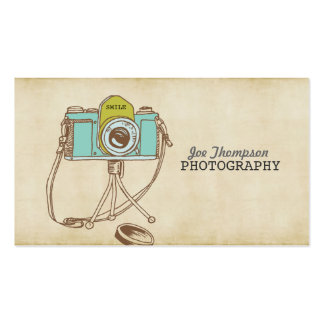 Cartões de visitas retros do fotógrafo da câmera d