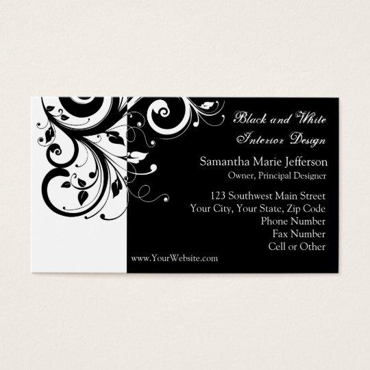 Cartões de visitas reversos preto e branco do