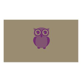 Cartões de visitas roxos da coruja cartão de visita