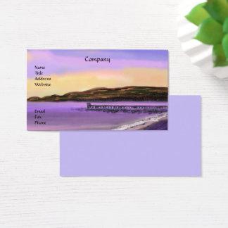 Cartões de visitas roxos da praia do nascer do sol