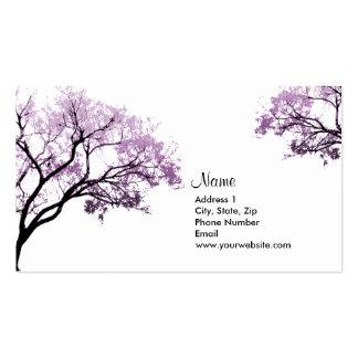 Cartões de visitas roxos das árvores do primavera