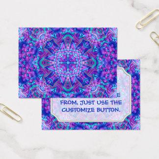 Cartões de visitas roxos e azuis do teste padrão