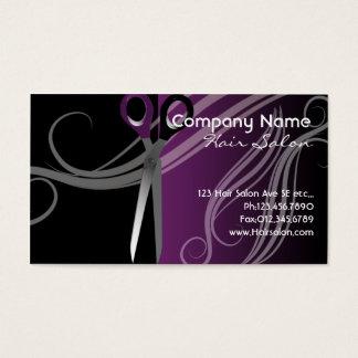cartões de visitas roxos e pretos do cabeleireiro