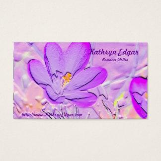 Cartões de visitas roxos gravados do autor do