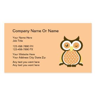 Cartões de visitas sábios da coruja