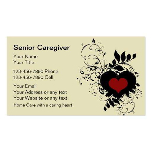 Cartões de visitas superiores do cuidador