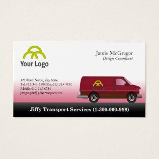Cartões de visitas vermelhos de Van do transporte