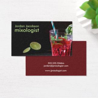 Cartões de visitas vermelhos do cocktail