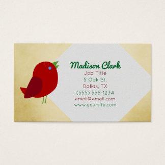 Cartões de visitas vermelhos do pássaro