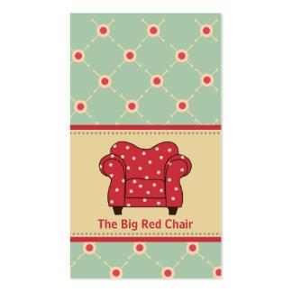 Cartões de visitas vermelhos grandes da cadeira
