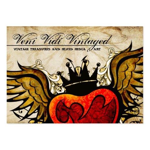 Cartões de visitas voados do coração do vintage ta