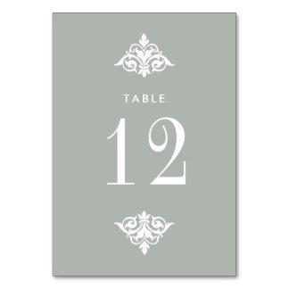 Cartões decorativos do número da mesa do casamento
