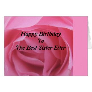 Cartões do aniversário da irmã do rosa do rosa os