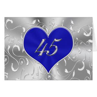 Cartões do aniversário de casamento do azul barato