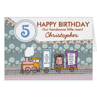Cartões do aniversário do trem do vapor para