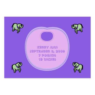 Cartões do anúncio do nascimento do babador do cartão de visita grande