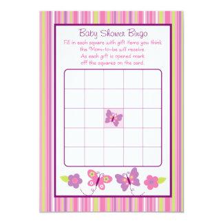 Cartões do Bingo do chá de fraldas da borboleta Convites Personalizado