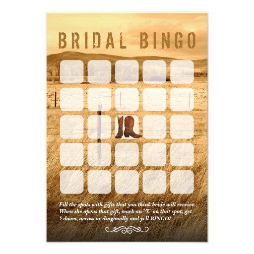 Cartões do Bingo do chá de panela do país das bota Convite