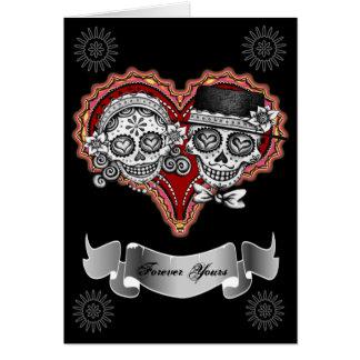 Cartões do casal do crânio do açúcar - adicione