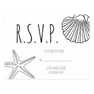 Cartões do casamento de praia RSVP da estrela do
