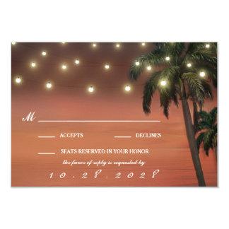 Cartões do casamento de praia RSVP do por do sol