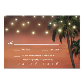 Cartões do casamento de praia RSVP do por do sol Convite 8.89 X 12.7cm