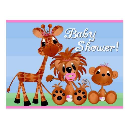 Cartões do chá de fraldas dos animais do jardim cartão postal