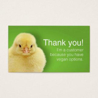 Cartões do consumidor do Vegan (ingleses)