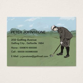 Cartões do contato do jogador de golfe do vintage