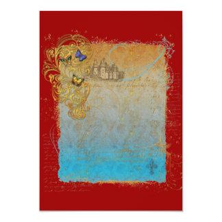 Cartões do convite do castelo do conto de fadas do