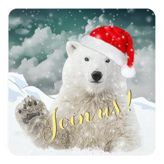 Cartões do convite do feriado do urso polar | do convite quadrado 13.35 x 13.35cm
