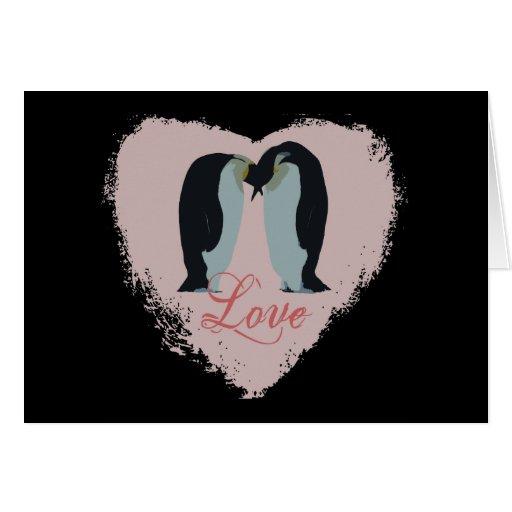Cartões do coração do amor do pinguim