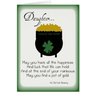 Cartões do dia de St Patrick para a filha