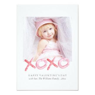 Cartões do dia dos namorados da aguarela XOXO Convite 12.7 X 17.78cm