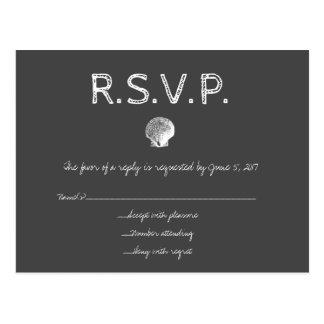 Cartões do escudo RSVP do casamento do destino do