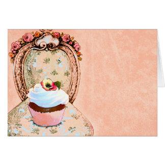 Cartões do estilo do vintage do cupcake e da cadei