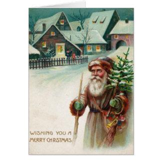 Cartões do Feliz Natal de Papai Noel do vintage