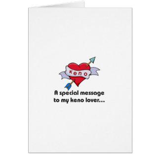 Cartões do Keno: Mensagem especial a meu amante do