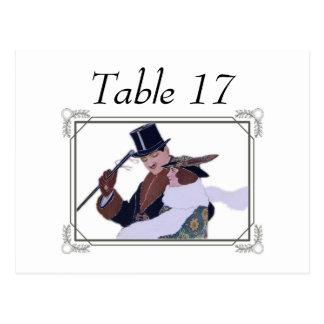 cartões do lugar da mesa do casal dos anos 20